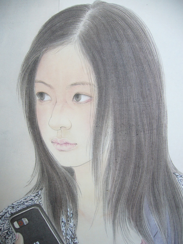王鹏工笔人物画《你若安好,便是晴天》局部图